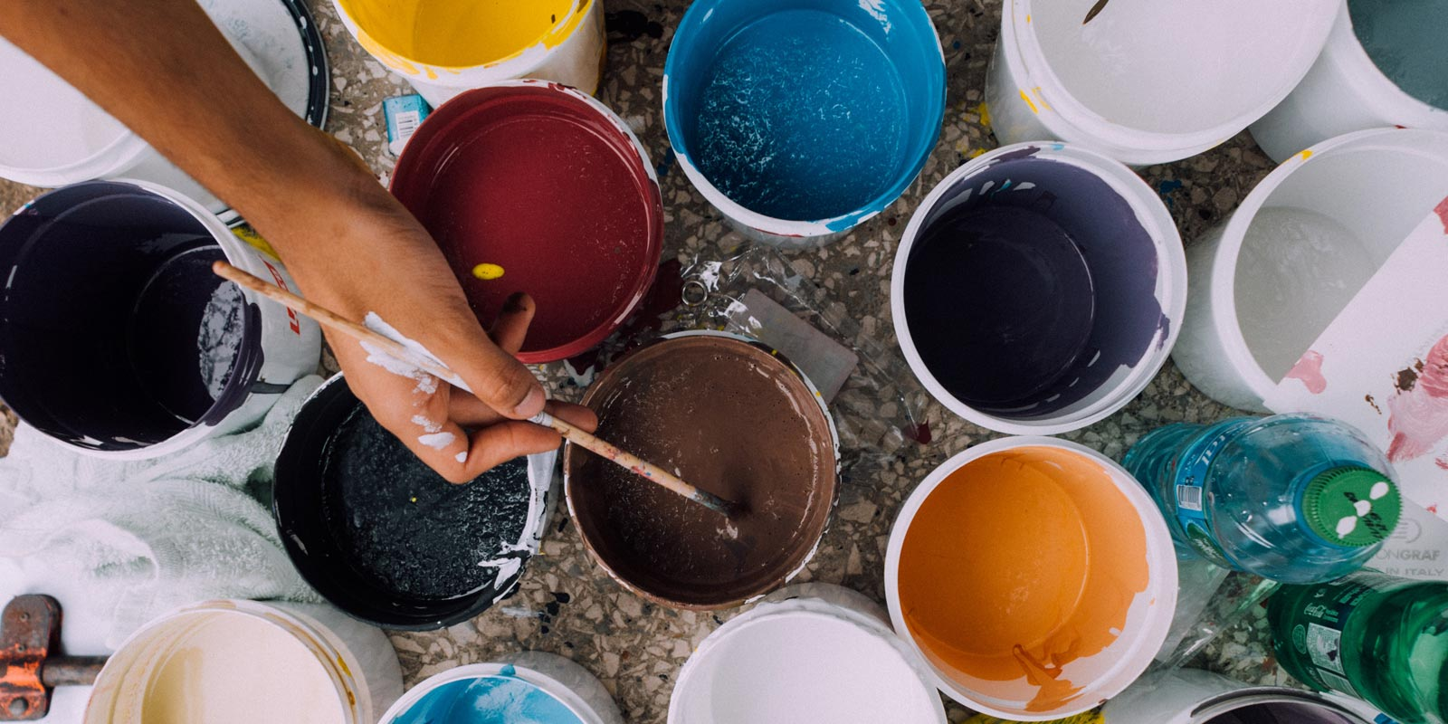 Pots of different colored paint