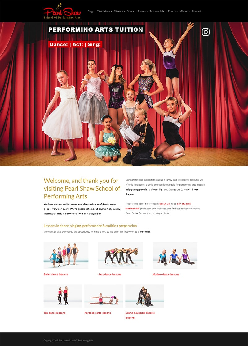 Web Design - Pearl Shaw School Of Performing Arts