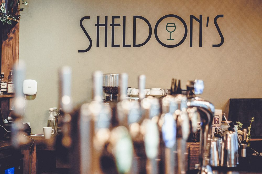 Sheldons Wine Bar Colwyn Bay - bar and logo