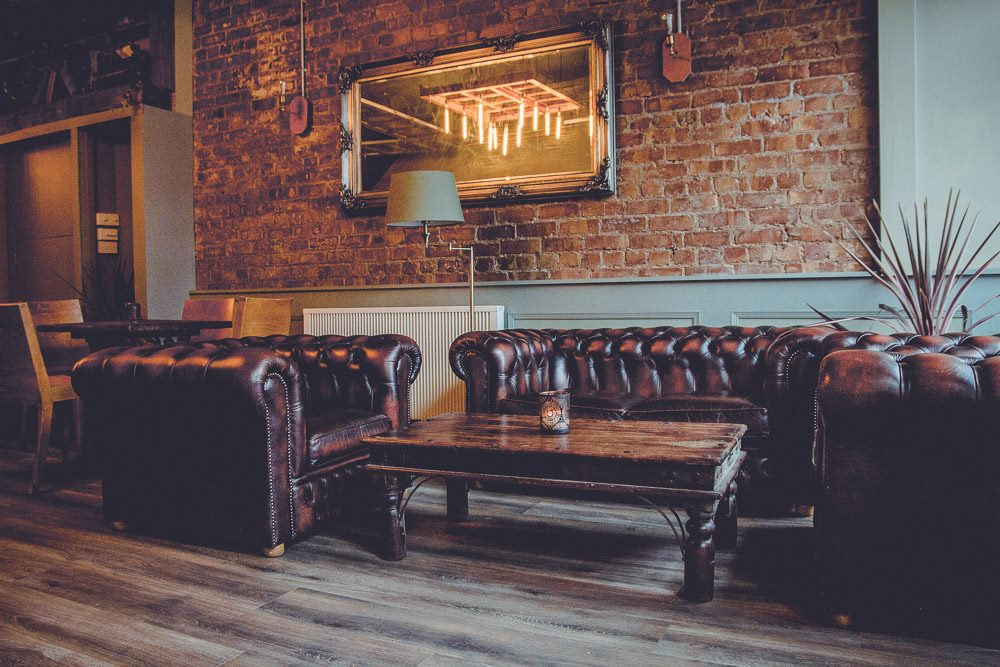 Sheldons Wine Bar Colwyn Bay - leather seating